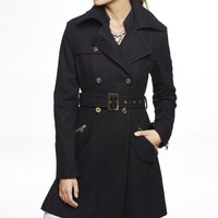 WOOL BLEND FIT AND FLARE TRENCH COAT