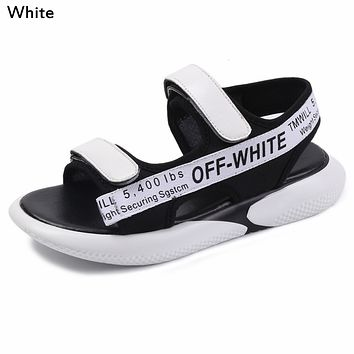 OFF-WHITE Tide brand women's Velcro webbing shoes thick-soled toe sandals White