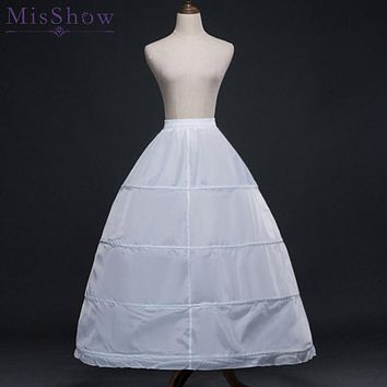 2018 White 4 Hoops Ball Gown Petticoat Wedding Accessories Bride Crinoline Cheap Long Underskirt Velos De Novia Voile De Mariee