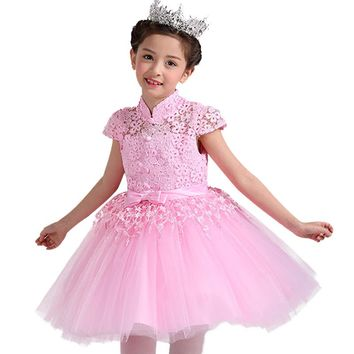 Spring summer 3-12 years Girls Princess Birthday Party Dress Childrens wedding dress short sleeve festival dress