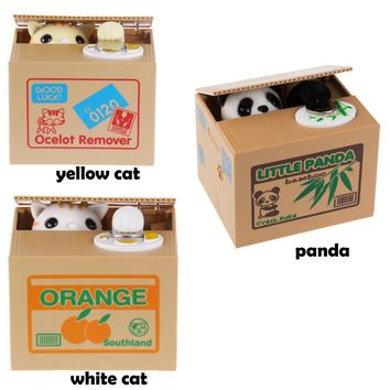 LemonBest 5pcs / lot Kitty White cat / Yellow cat / Panda Money Coin Bank Money Saving Box Moneybox Kids Gift Jar Alcancias Gato