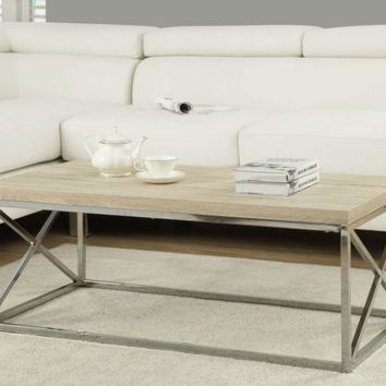 Modern Coffee Table with Natural Wood Top and Metal Legs