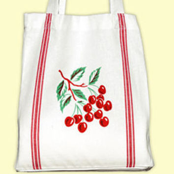 Vintage 100% Cotton Cherry Tile Tote with Matching Flour Sack Towel.