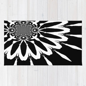 Area Rug, Black & White Modern Flower Rug, Black and White Decorative Rug, Woven Area Rug, 2x3 Rug, 3x5 Rug, 4x6 Rug , Accent Rug,