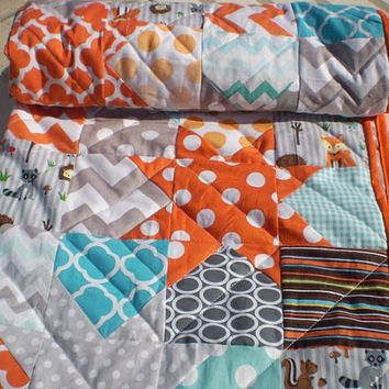 Woodland Baby quilt,patchwork crib quilt,baby boy bedding,baby girl quilt,rustic,teal,aqua grey,orange,fox,owl,chevron,Catch a falling star