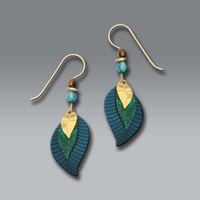 Adajio Earrings - Three-Part Teal Blue and Gold Plated Leaves