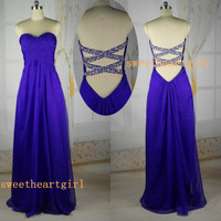 Sweetheart A-line Floor Length Pleated Crystal Beads Sequins Prom Dresses