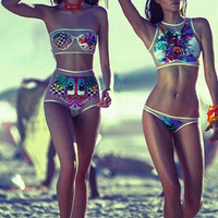Fashion Flower Print Bikini Set Swimsuit Swimwear