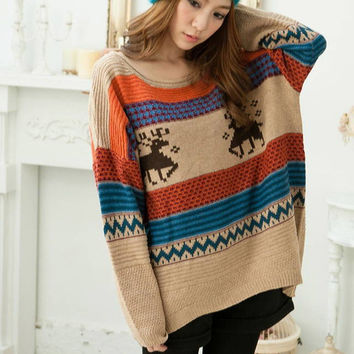 Women christmas Sweaters and Pullovers Loose Oversized Long Sleeve reindeer pattern Knitted Sweaters pull femme poncho Knitwear
