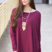 Playing with Fire Cranberry Piko Top