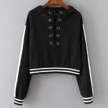 New Fashion long sleeve lace up type belly hollow hooded sweater black