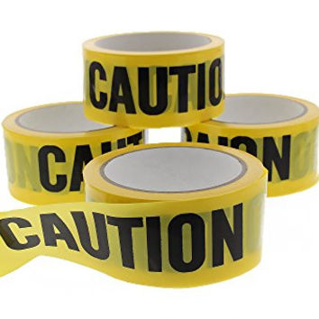 Caution Warning Hazard Barricade Tape Ribbon 4 Pack Safety Supplies Set (1.75 Inches x 150 Feet per Roll) 4 Rolls Total Yellow Black