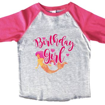 Birthday Girl Mermaid BOYS OR GIRLS BASEBALL 3/4 SLEEVE RAGLAN - VERY SOFT TRENDY SHIRT B993