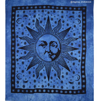 Purple Bright Sun Moon Dorm Room Hippie Tie Dye Indian Tapestry Wall Hanging