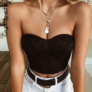 Cryptographic Fashion strapless bralette crop top lace top women off shoulder sexy tank tops 2018 new short cropped tank female