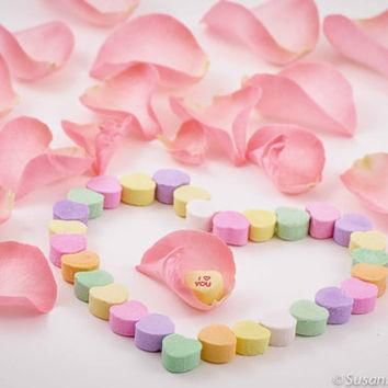 Photography, Conversation Hearts 'I Love You', Pink Rose Petals, Set of 3 Photo Cards,