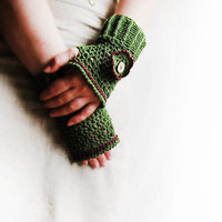 crochet green lace fingerless gloves, grass, decorated with button and crochet flower, hand warmers,  mitts, Boho style,