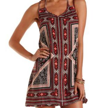 Black Combo Strappy Scarf Print Shift Dress by Charlotte Russe