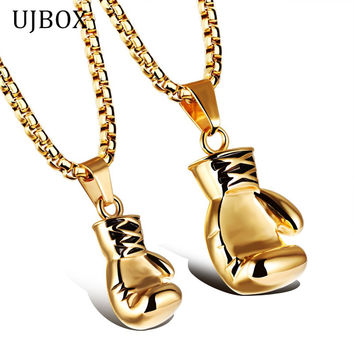UJBOX Exquisite Stainless Steel Boxing Glove Necklaces & Pendants For Men And Women Fashion Boxing Jewelry Accessories NE105G