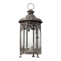 Hurricane Lantern In Distressed Finish - Hexagonal
