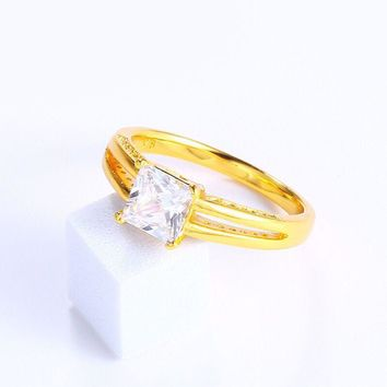 MxGxFam Single Zircon Square Rings For Women Girl Mother Friends 24 k Pure Gold color Personal Jewelry