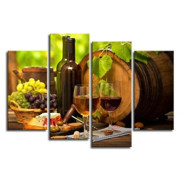 Kitchen Wall Art Canvas Prints Grapes Wines Fruits Painting Print on Canvas - 4 Piece Canvas Art Artwork for Dining Room Decor