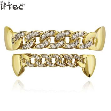 ac DCCKO2Q Iftec Pure Gold Color Plated Fang Teeth Grillz Micro Pave Cz Stones Exclusive Luxury Top & Bottom Hip Hop Chain Gold Grills