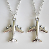 Airplane Necklaces, long distance friendship, best friends, set of 2 necklaces, travel necklace, relationship jewelry