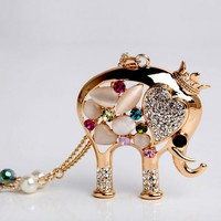 Opal And Rhinestone Elephant Necklace