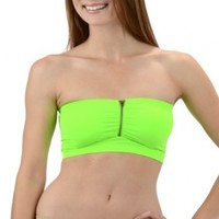 Womens Neon Lime Padded with Zipper Stretch Tube Top / Camisole Bandeau Bra by Level 33