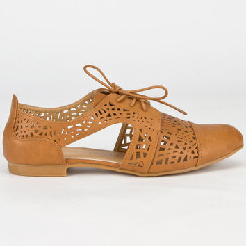 Carrini Cutout Womens Oxford Shoes Cognac  In Sizes