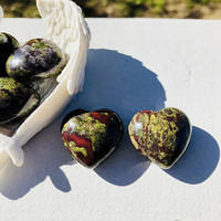 SALE**SALE**Bloodstone Jasper Stone Heart / 25MM Crystal Heart w Free Bag & Affirmation Card. Abundance/ Crystal Orb,Ball, Sphere ONE