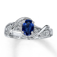 Lab-Created Sapphire Ring Oval-Cut  Sterling Silver