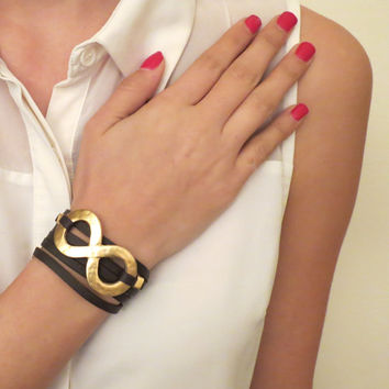 Black Leather Bracelet With Gold Plated Infinity - Infinity Love - Infinity Loop Jewelry - Symbol Jewelry - Friendship Jewelry