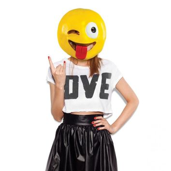 Crazy Wink With Tongue Emoji Mask