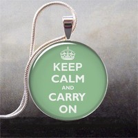 Keep Calm Mint Green art pendant charm, resin pendant picture pendant photo pendant (205)