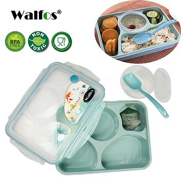 WALFOS brand 5 plus 1 Sealed Microwaveable Lunch box with spoon bento box For kids School Office with simplicity fresh style