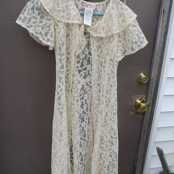 Vintage 80S  off   WHITE Floral Lace glass  Buttons  Corset BELL Sleeve Jazz Kids  Dress with full underslip   sz 16 girls