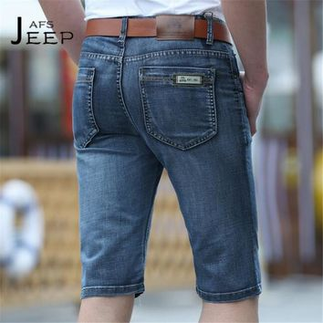 AFS JEEP 2017 Summer Fashion Man's Denim Short trousers,Sky Blue Nature cotton Back pocket,straight leisure water washing jeans