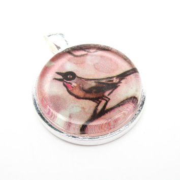 Bird Illustration Pendant from Vintage Children's Book, in Glass Tile Circle