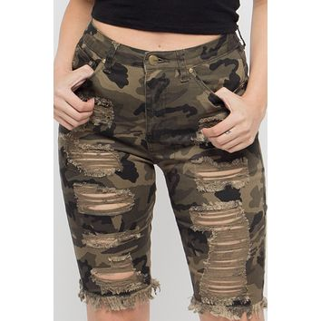 Double Sided Distressed Bermuda Shorts