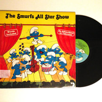 OCTOBER SALE Vinyl Record The Smurfs The Smurfs All Star Show LP Album Childrens Kids 1981 Welcome To Smurf Land