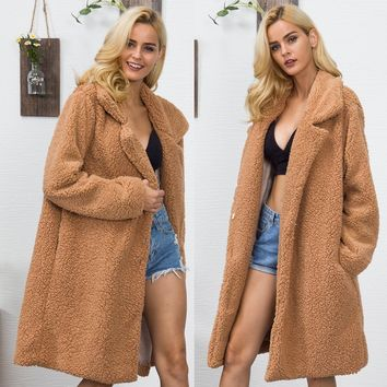 Faux fur coat in the long section of artificial fur coat women's casual jacket lapel fake fur coat autumn and winter new 2018 Eu