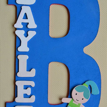 "MERMAID- Theme- Personalized 13.5"" Hand Painted Wooden Letter Initial Hanging Wall Art With Name"