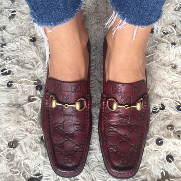 Vintage GUCCI GG Guccissima Monogram Leather Horsebit Loafers Flats Driving Shoes Ballet Slippers us 7.5