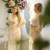 Lace Maternity Dresses For Photo Shoot Elegant Maternity Clothes Pregnancy Dress Photography Props Nursing Dress Sexy Costumes