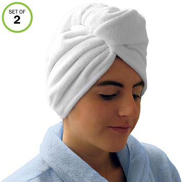 Evelots Hair Drying Towel Wrap-Turban-Microfiber-Dry Fast-Long/Short Hair-Set/2