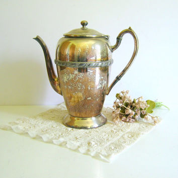 Vintage Silver Teapot - Vase - Wedding Decor