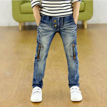 2016 Autumn Fashion High quality Children Clothing 3-12Yrs Baby Boys Jeans 100-160cm Brand Big Children Jeans Pants Kid Trousers