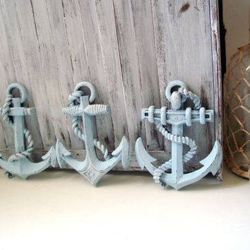 Blue Nautical Anchor Wall Hangings, Beach Cottage Light Blue Anchor Wall Plaques, Boys Nursery Decor, Beach Chic Decor, Gift Ideas